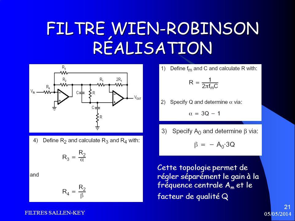05/05/2014 FILTRES SALLEN-KEY 21 FILTRE WIEN-ROBINSON RÉALISATION Cette topologie permet de régler séparément le gain à la fréquence centrale A m et l