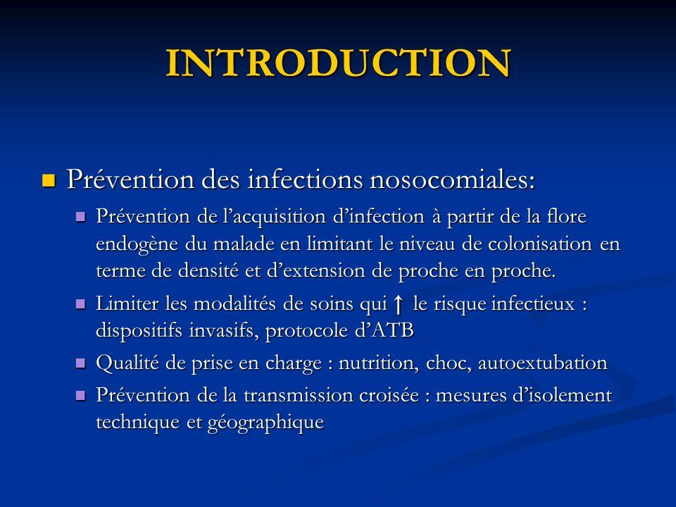 INTRODUCTION Prévention des infections nosocomiales: Prévention des infections nosocomiales: Prévention de lacquisition dinfection à partir de la flor