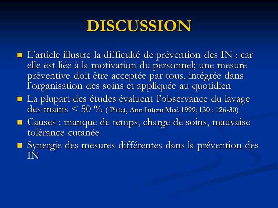 DISCUSSION Larticle illustre la difficulté de prévention des IN : car elle est liée à la motivation du personnel; une mesure préventive doit être acce