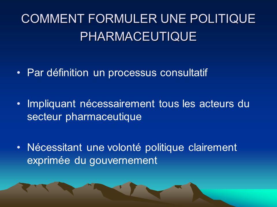 QUEST-CE QUUNE POLITIQUE PHARMACEUTIQUE Un engagement vers un but et un guide pour action.