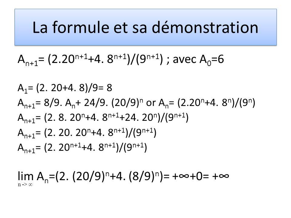 La formule et sa démonstration A n+1 = (2.20 n+1 +4. 8 n+1 )/(9 n+1 ) ; avec A 0 =6 A 1 = (2. 20+4. 8)/9= 8 A n+1 = 8/9. A n + 24/9. (20/9) n or A n =