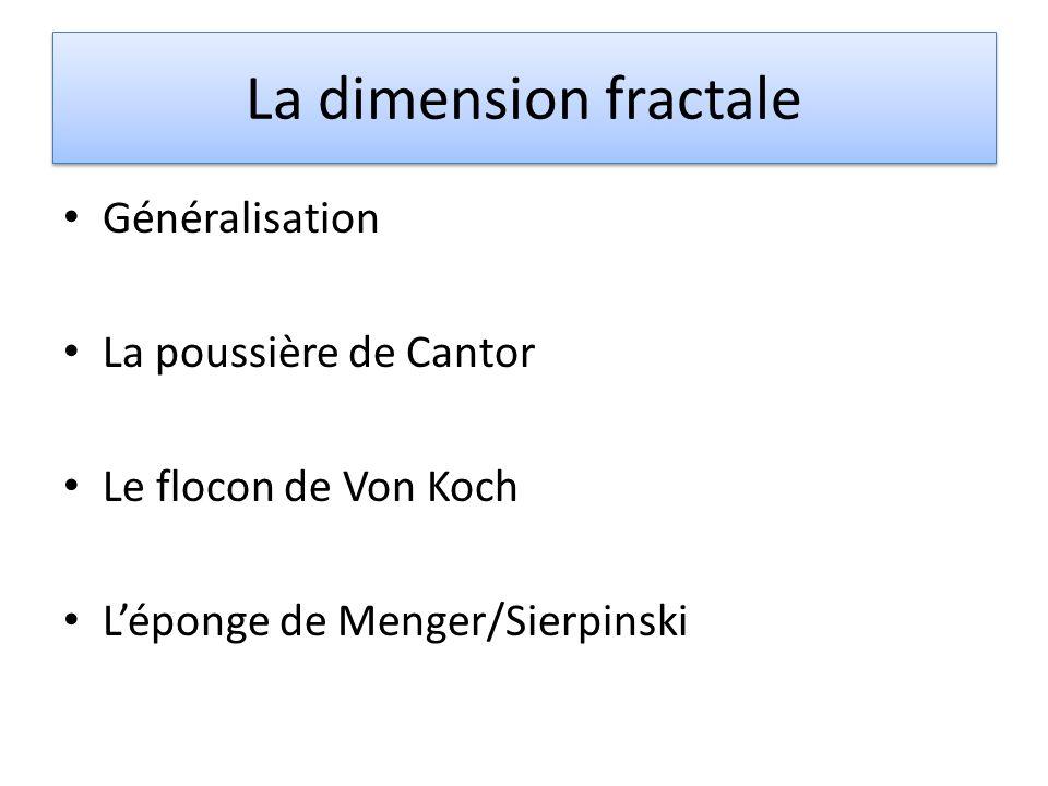 La dimension fractale Généralisation La poussière de Cantor Le flocon de Von Koch Léponge de Menger/Sierpinski