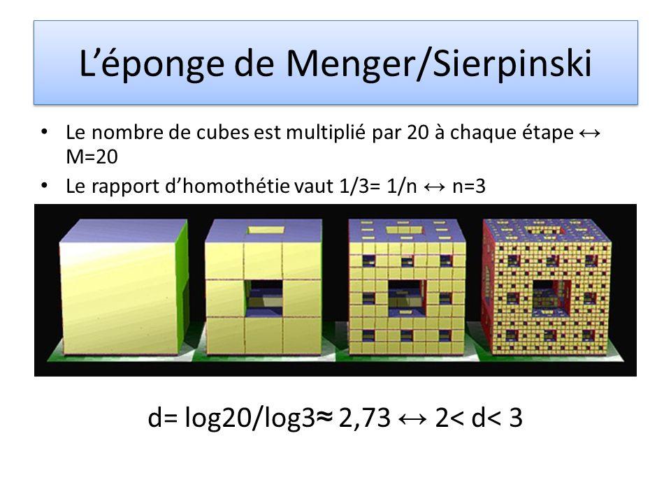 Léponge de Menger/Sierpinski Le nombre de cubes est multiplié par 20 à chaque étape M=20 Le rapport dhomothétie vaut 1/3= 1/n n=3 d= log20/log3 2,73 2< d< 3