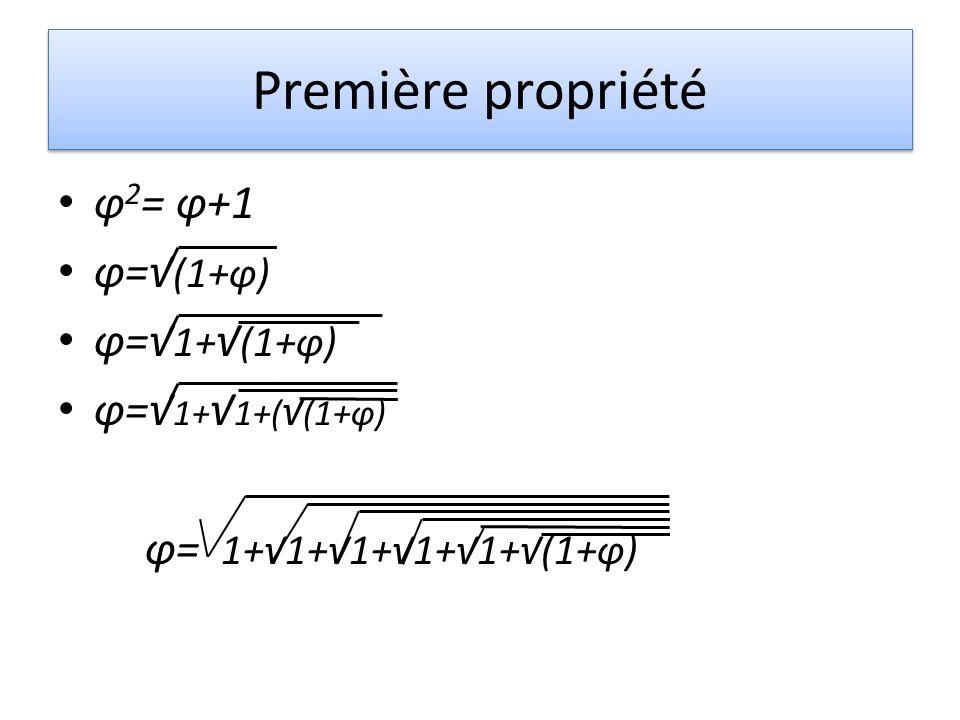 Première propriété φ 2 = φ+1 φ= (1+φ) φ= 1+ (1+φ) φ= 1+ 1+( (1+φ) φ= 1+1+1+1+1+(1+φ)