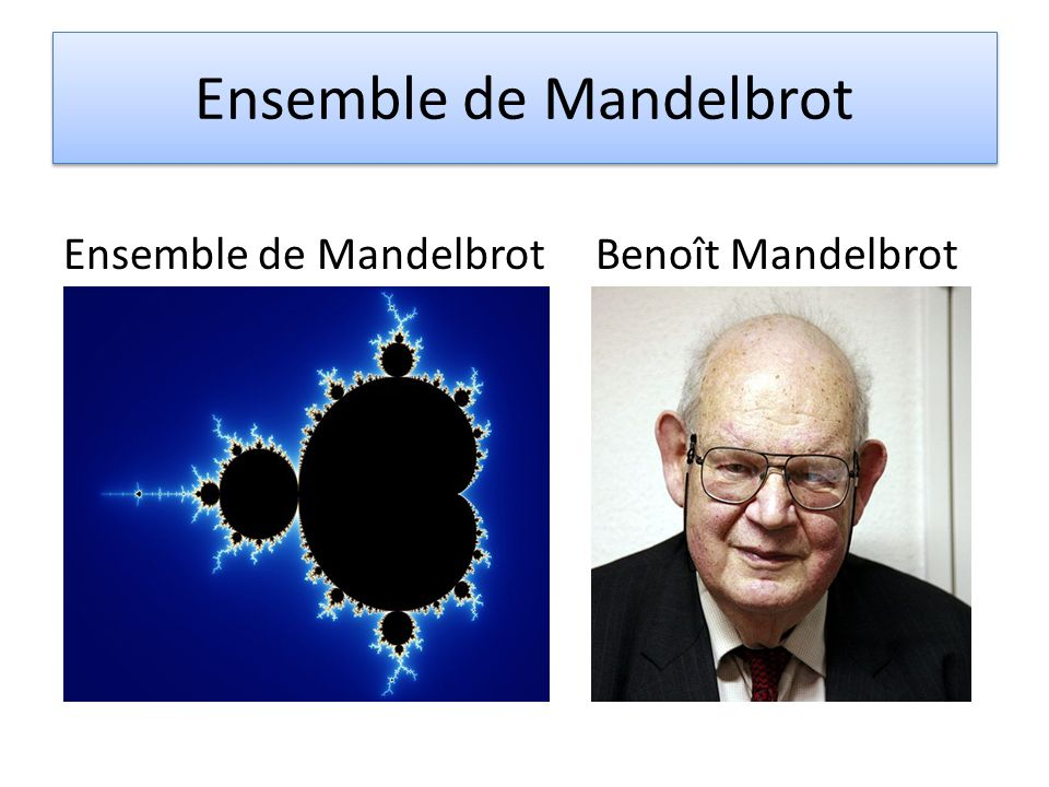 Ensemble de Mandelbrot Ensemble de Mandelbrot Benoît Mandelbrot