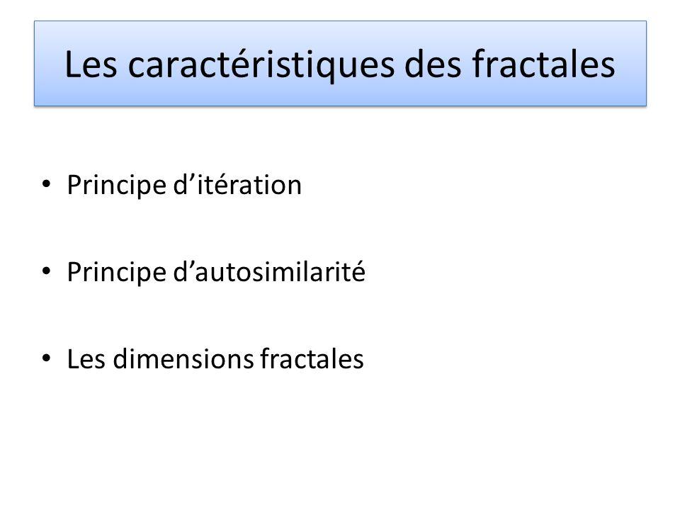 Les caractéristiques des fractales Principe ditération Principe dautosimilarité Les dimensions fractales