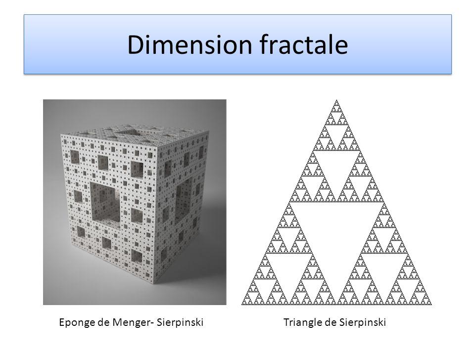 Dimension fractale Eponge de Menger- SierpinskiTriangle de Sierpinski