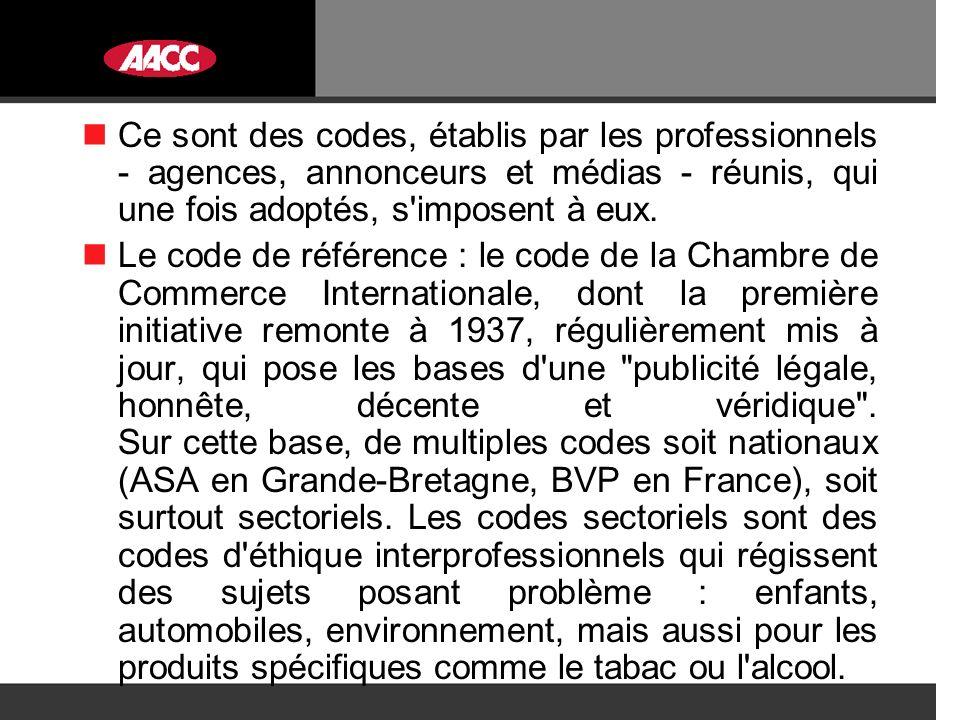 Ce sont des codes, établis par les professionnels - agences, annonceurs et médias - réunis, qui une fois adoptés, s imposent à eux.