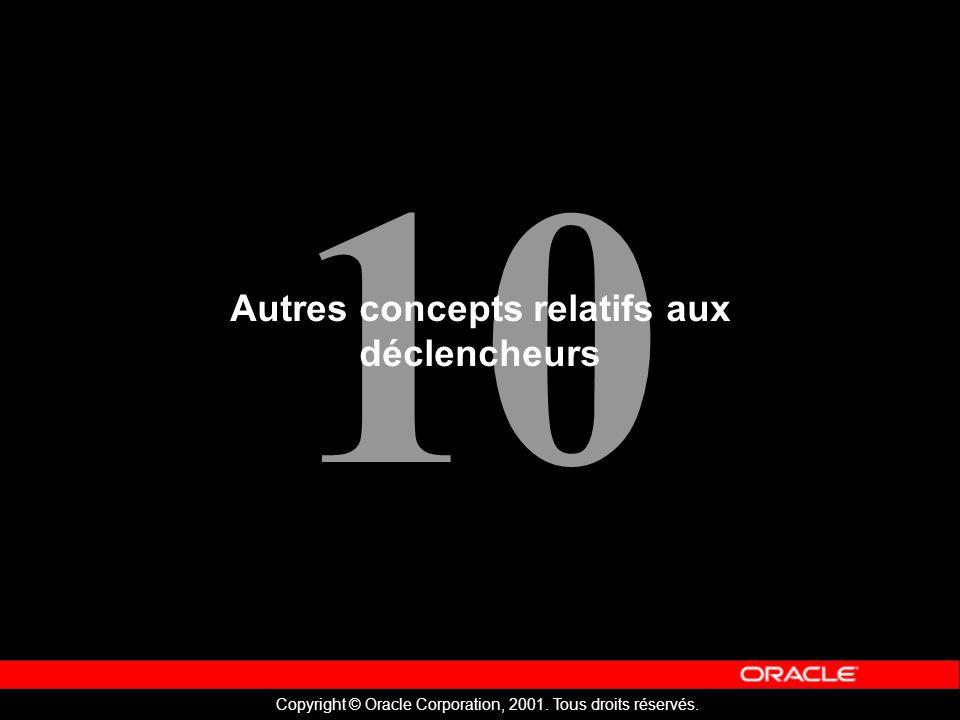 10 Copyright © Oracle Corporation, 2001. Tous droits réservés.