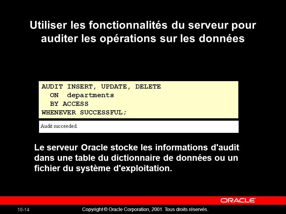 10-14 Copyright © Oracle Corporation, 2001. Tous droits réservés.