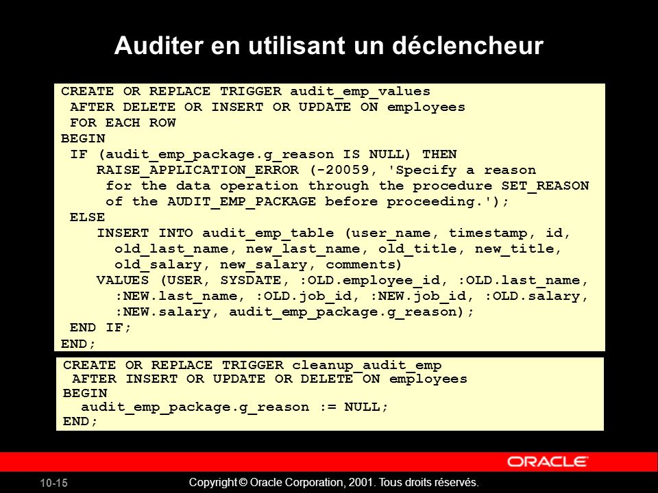 10-15 Copyright © Oracle Corporation, 2001. Tous droits réservés. CREATE OR REPLACE TRIGGER audit_emp_values AFTER DELETE OR INSERT OR UPDATE ON emplo