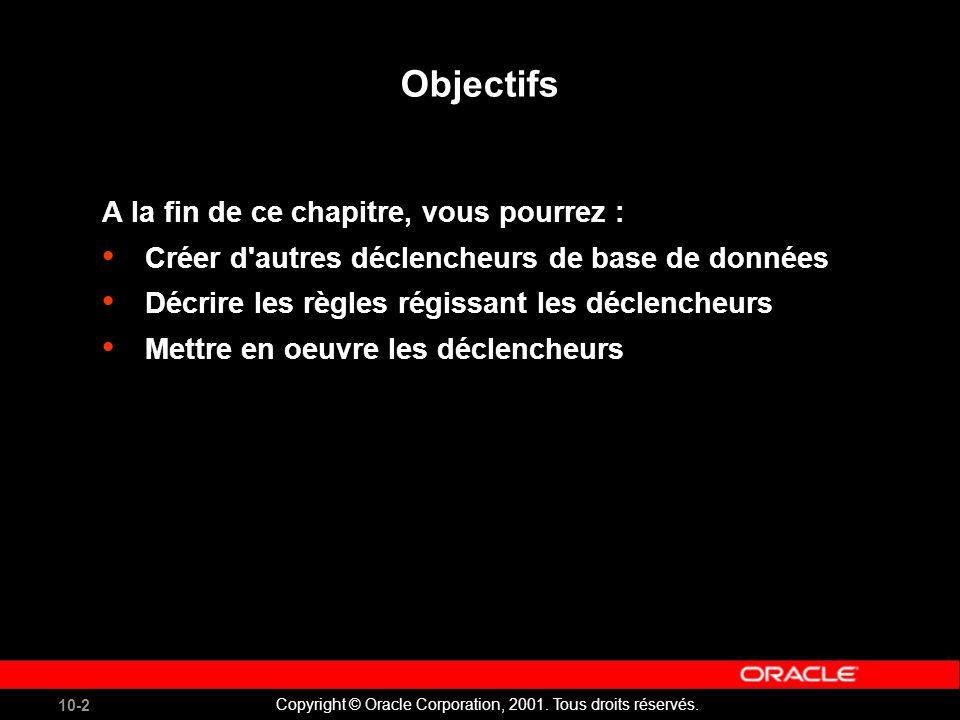 10-2 Copyright © Oracle Corporation, 2001. Tous droits réservés.
