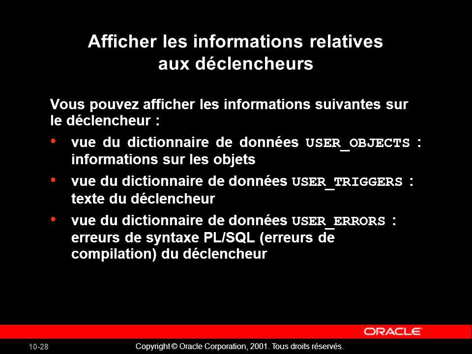 10-28 Copyright © Oracle Corporation, 2001. Tous droits réservés.