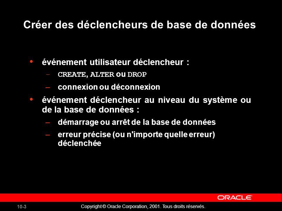 10-3 Copyright © Oracle Corporation, 2001. Tous droits réservés.