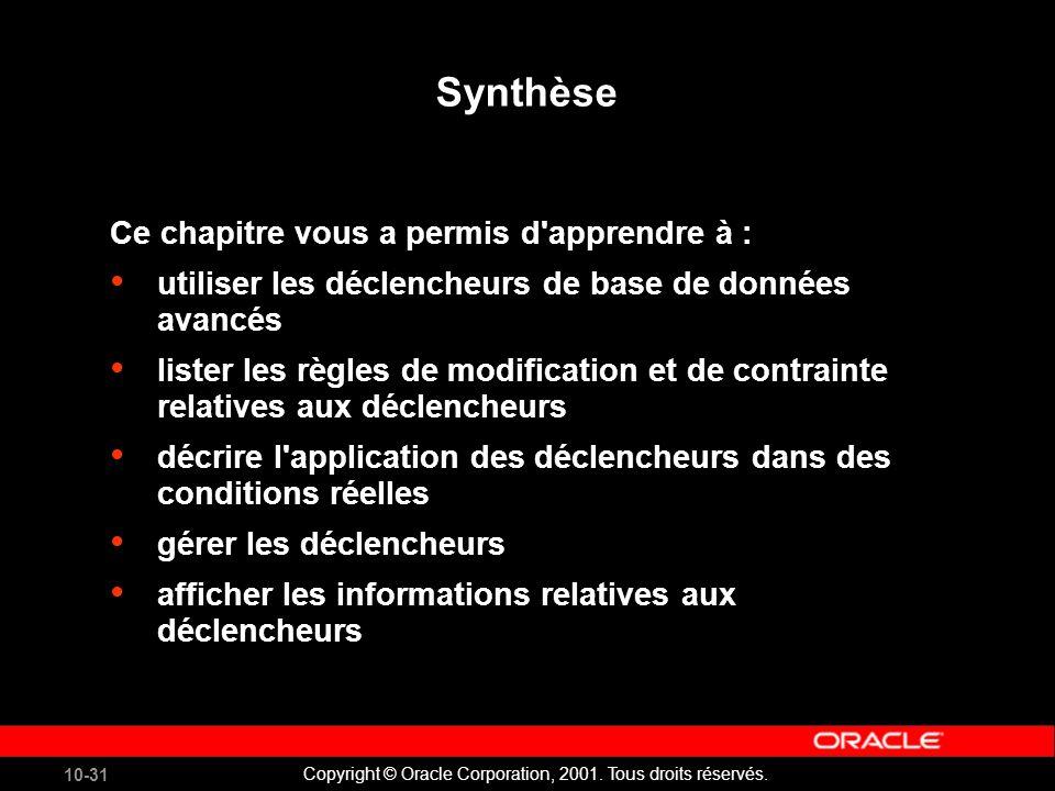10-31 Copyright © Oracle Corporation, 2001. Tous droits réservés.