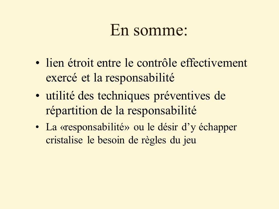 En somme: lien étroit entre le contrôle effectivement exercé et la responsabilité utilité des techniques préventives de répartition de la responsabilité La «responsabilité» ou le désir dy échapper cristalise le besoin de règles du jeu
