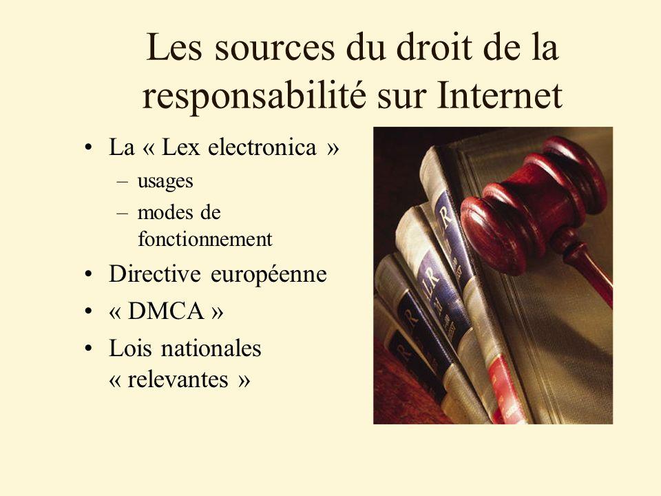 Les sources du droit de la responsabilité sur Internet La « Lex electronica » –usages –modes de fonctionnement Directive européenne « DMCA » Lois nationales « relevantes »