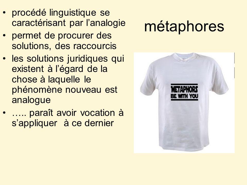 métaphores procédé linguistique se caractérisant par lanalogie permet de procurer des solutions, des raccourcis les solutions juridiques qui existent à légard de la chose à laquelle le phénomène nouveau est analogue …..