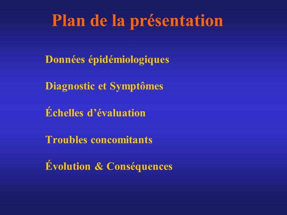 Plan de la présentation Données épidémiologiques Diagnostic et Symptômes Échelles dévaluation Troubles concomitants Évolution & Conséquences