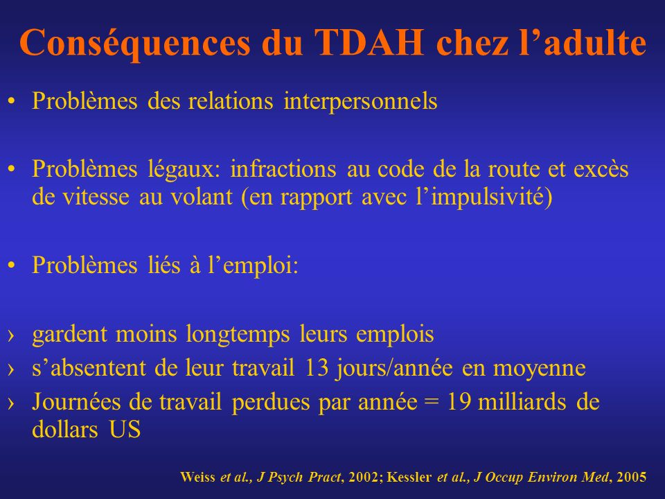 Conséquences du TDAH chez ladulte Problèmes des relations interpersonnels Problèmes légaux: infractions au code de la route et excès de vitesse au vol