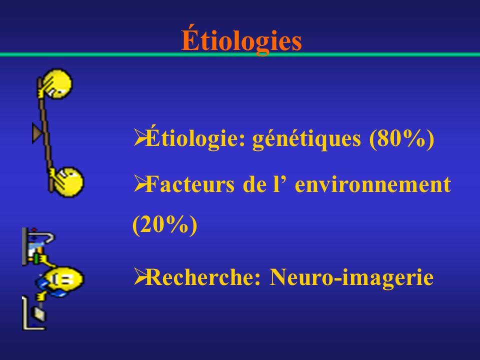Étiologies Étiologie: génétiques (80%) Facteurs de l environnement (20%) Recherche: Neuro-imagerie