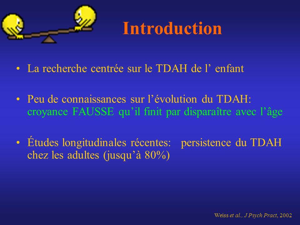 Introduction La recherche centrée sur le TDAH de l enfant Peu de connaissances sur lévolution du TDAH: croyance FAUSSE quil finit par disparaître avec