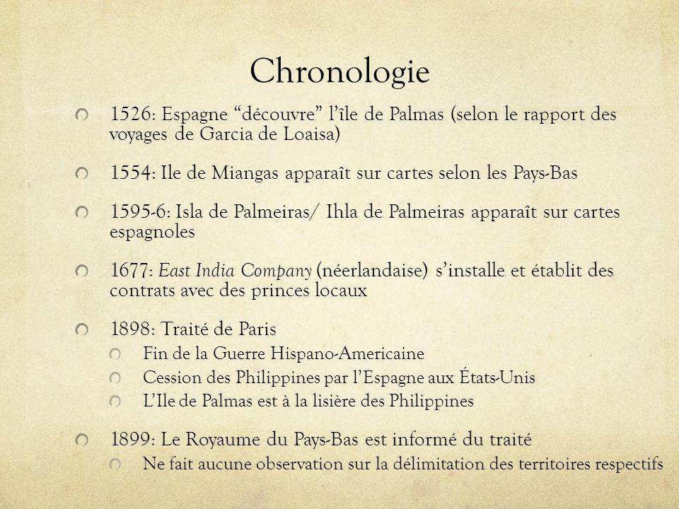 Chronologie 1526: Espagne découvre lîle de Palmas (selon le rapport des voyages de Garcia de Loaisa) 1554: Ile de Miangas apparaît sur cartes selon le
