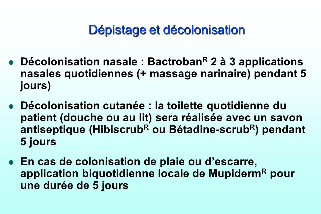 Dépistage et décolonisation l Décolonisation nasale : Bactroban R 2 à 3 applications nasales quotidiennes (+ massage narinaire) pendant 5 jours) l Déc