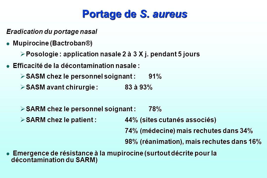 Portage de S. aureus Eradication du portage nasal l Mupirocine (Bactroban®) Posologie : application nasale 2 à 3 X j. pendant 5 jours Posologie : appl