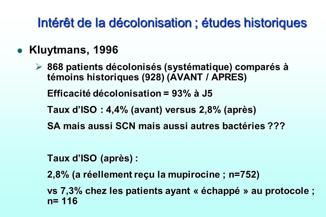 Intérêt de la décolonisation ; études historiques l Kluytmans, 1996 868 patients décolonisés (systématique) comparés à témoins historiques (928) (AVAN