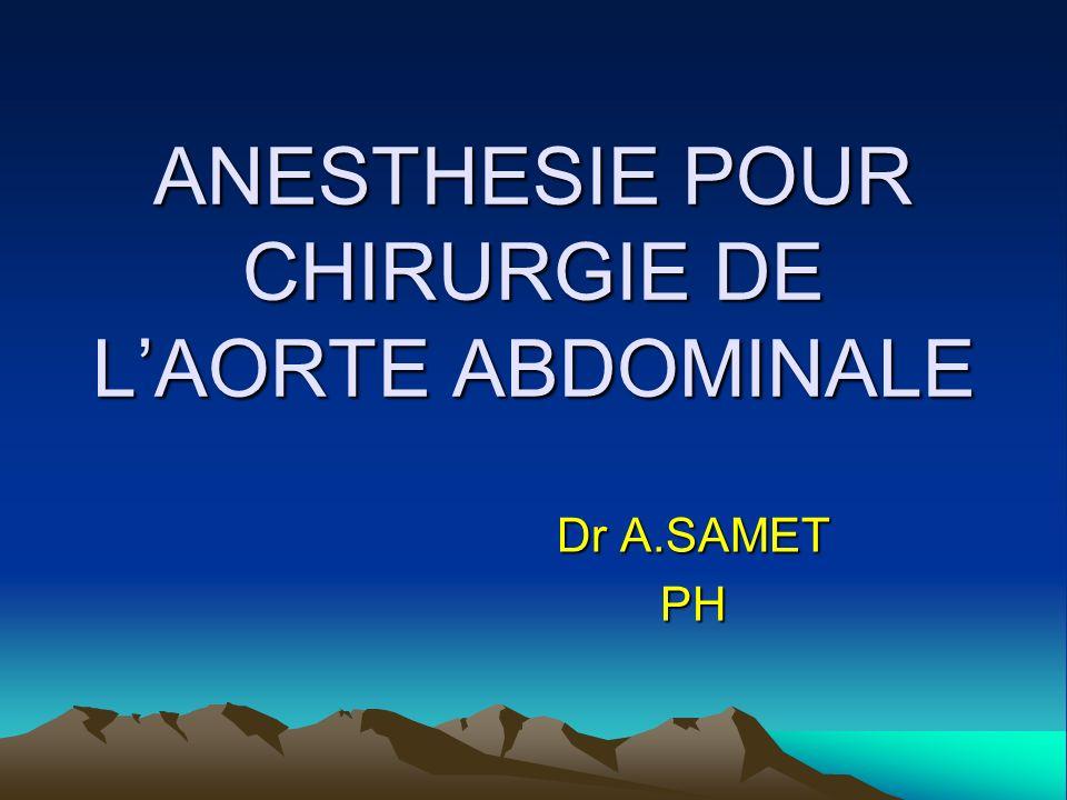 ANESTHESIE POUR CHIRURGIE DE LAORTE ABDOMINALE Dr A.SAMET PH