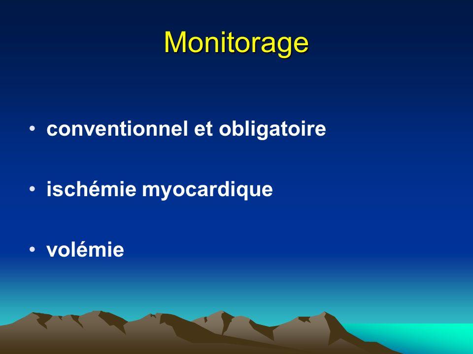 Monitorage conventionnel et obligatoire ischémie myocardique volémie