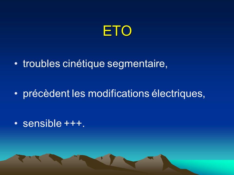 ETO troubles cinétique segmentaire, précèdent les modifications électriques, sensible +++.