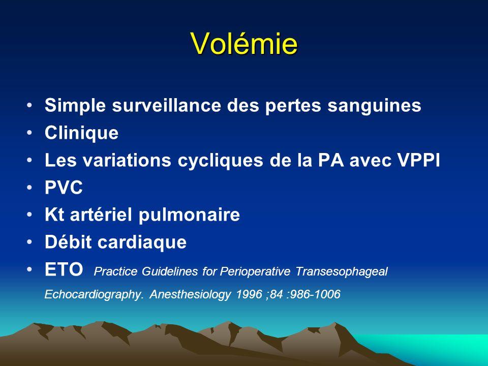 Volémie Simple surveillance des pertes sanguines Clinique Les variations cycliques de la PA avec VPPI PVC Kt artériel pulmonaire Débit cardiaque ETO Practice Guidelines for Perioperative Transesophageal Echocardiography.