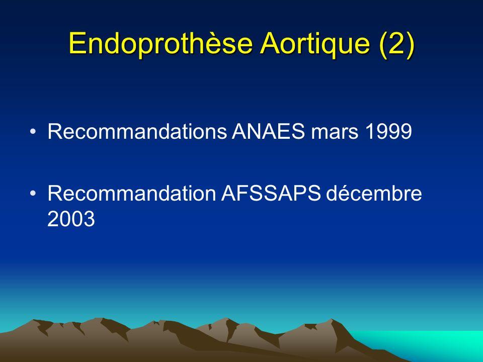 Endoprothèse Aortique (2) Recommandations ANAES mars 1999 Recommandation AFSSAPS décembre 2003
