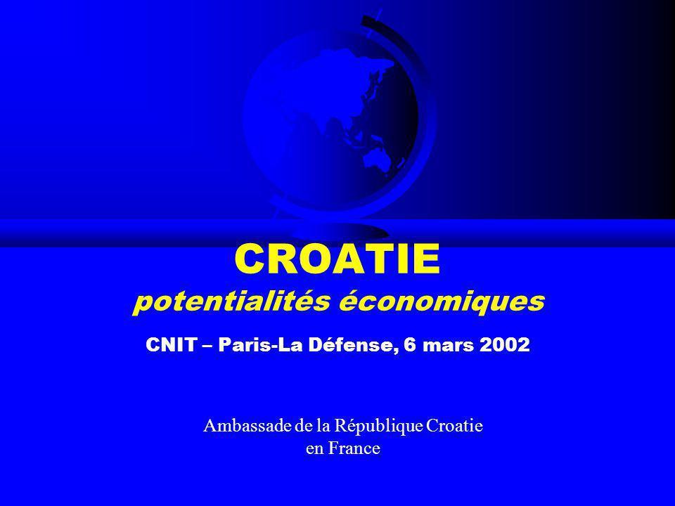 CROATIE potentialités économiques CNIT – Paris-La Défense, 6 mars 2002 Ambassade de la République Croatie en France