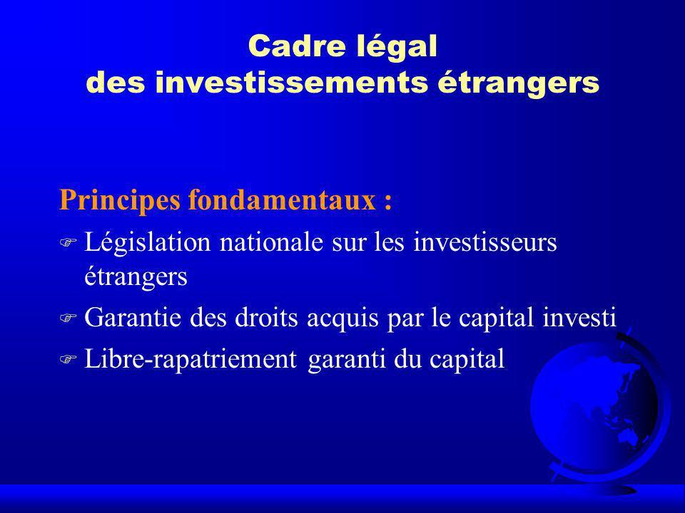 Cadre légal des investissements étrangers Principes fondamentaux : F Législation nationale sur les investisseurs étrangers F Garantie des droits acqui