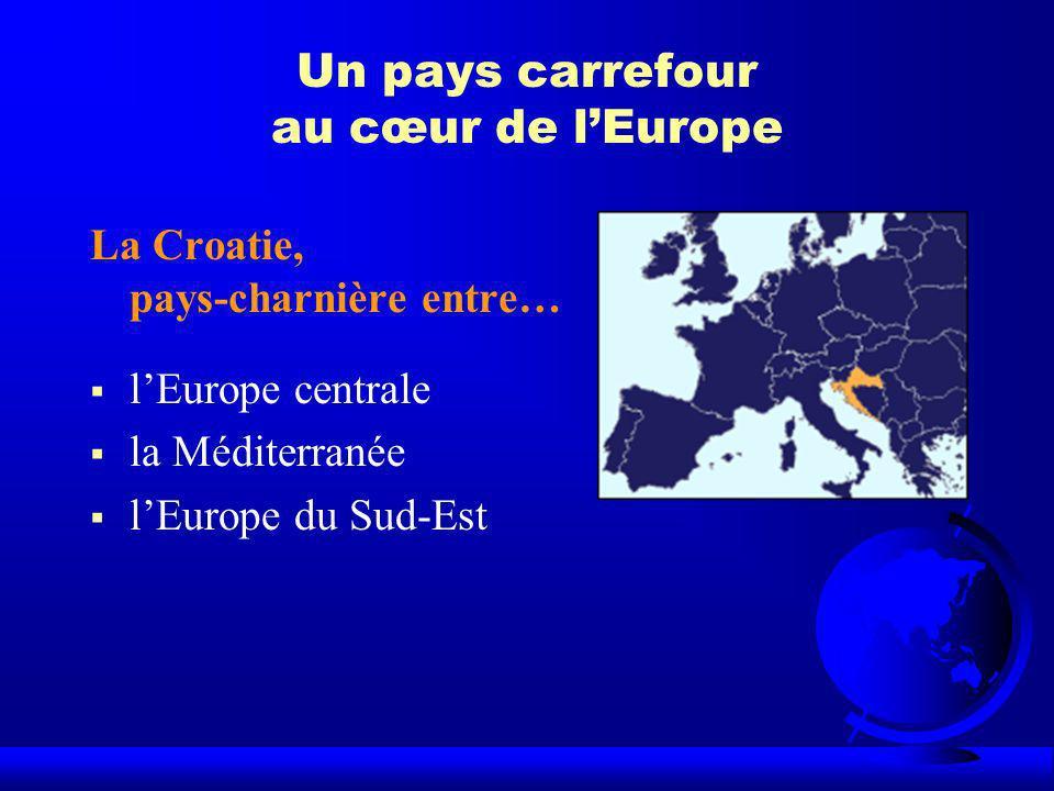 Un pays carrefour au cœur de lEurope La Croatie, pays-charnière entre… lEurope centrale la Méditerranée lEurope du Sud-Est