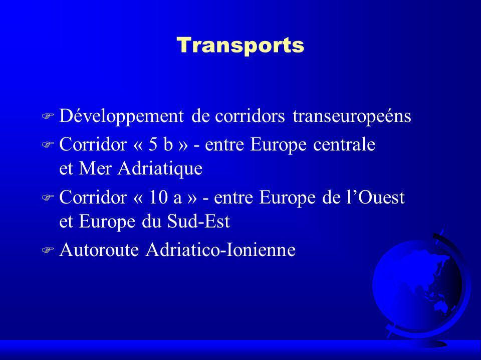 Transports F Développement de corridors transeuropeéns F Corridor « 5 b » - entre Europe centrale et Mer Adriatique F Corridor « 10 a » - entre Europe