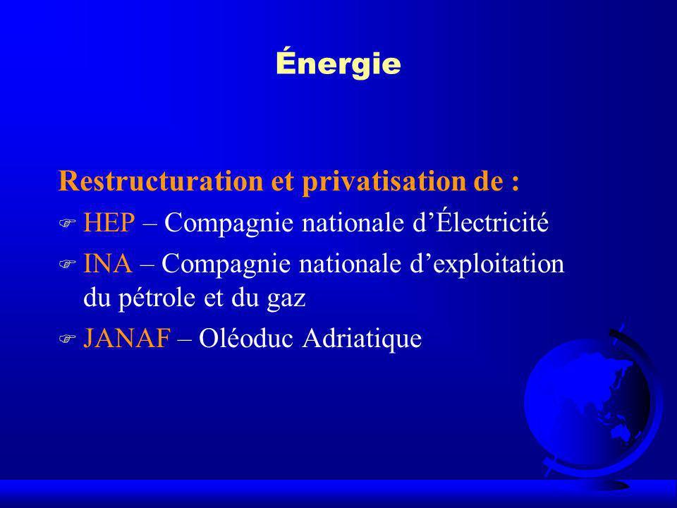 Énergie Restructuration et privatisation de : F HEP – Compagnie nationale dÉlectricité F INA – Compagnie nationale dexploitation du pétrole et du gaz
