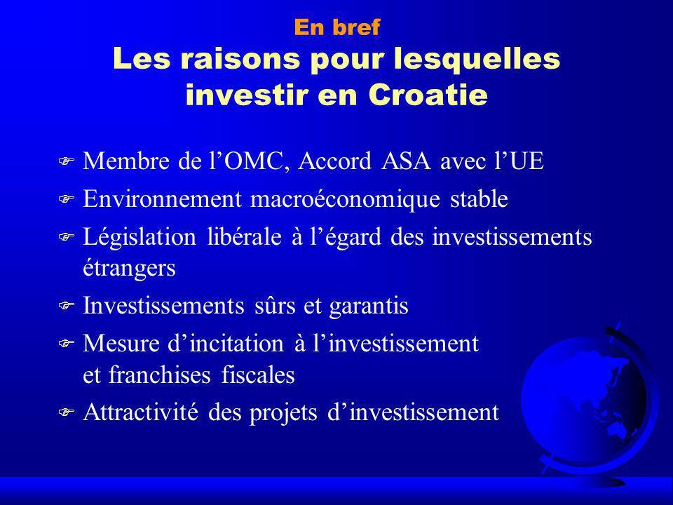 En bref Les raisons pour lesquelles investir en Croatie F Membre de lOMC, Accord ASA avec lUE F Environnement macroéconomique stable F Législation lib