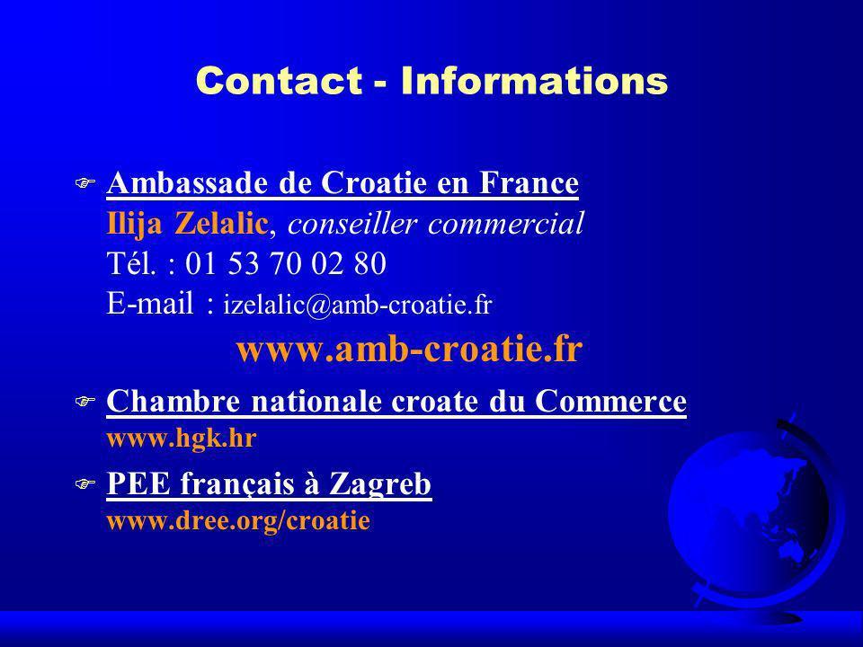 Contact - Informations F Ambassade de Croatie en France Ilija Zelalic, conseiller commercial Tél. : 01 53 70 02 80 E-mail : izelalic@amb-croatie.fr ww