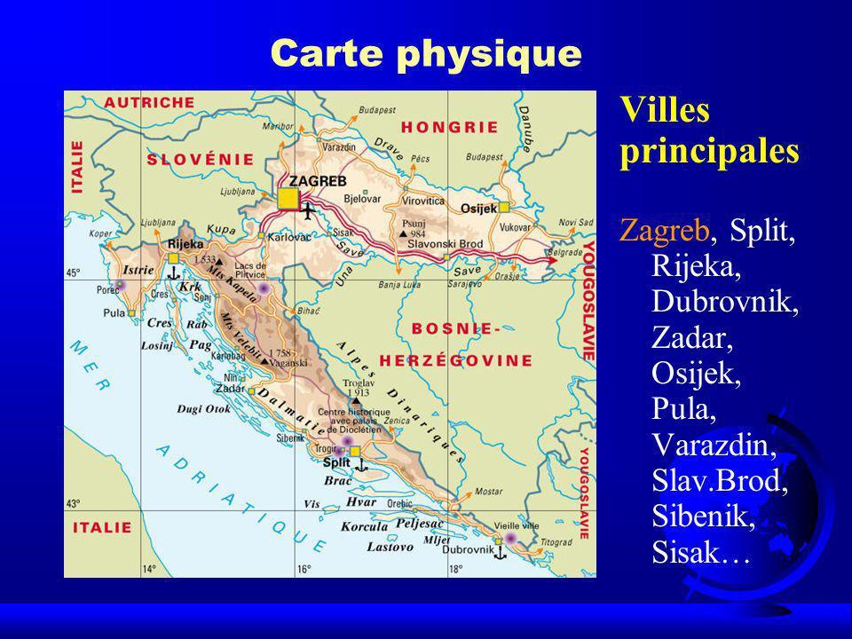 Carte physique Villes principales Zagreb, Split, Rijeka, Dubrovnik, Zadar, Osijek, Pula, Varazdin, Slav.Brod, Sibenik, Sisak…