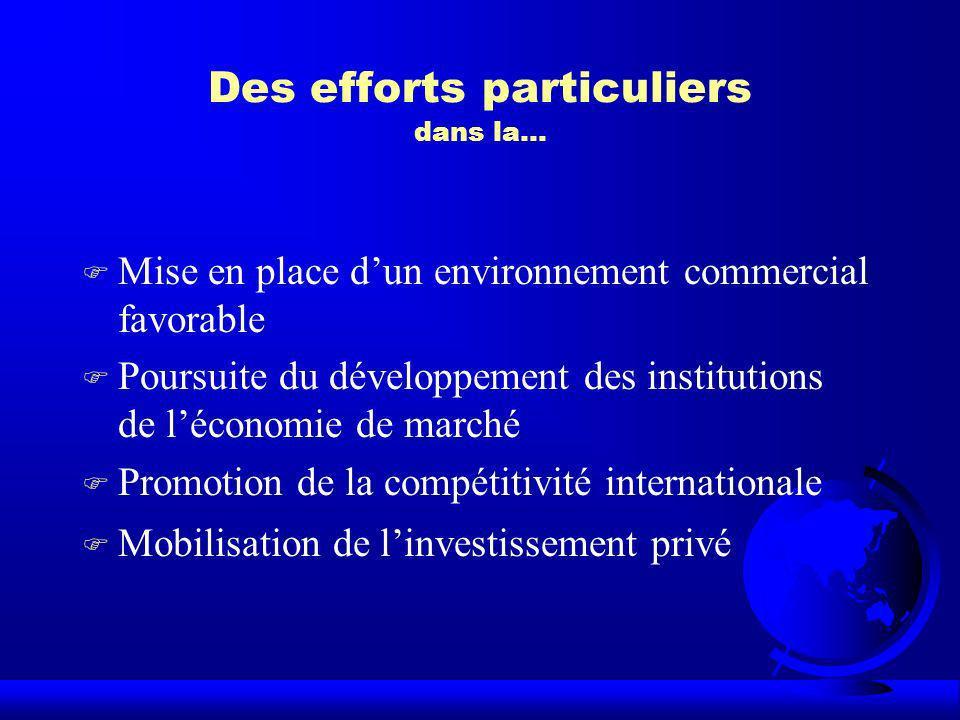 Des efforts particuliers dans la… F Mise en place dun environnement commercial favorable F Poursuite du développement des institutions de léconomie de