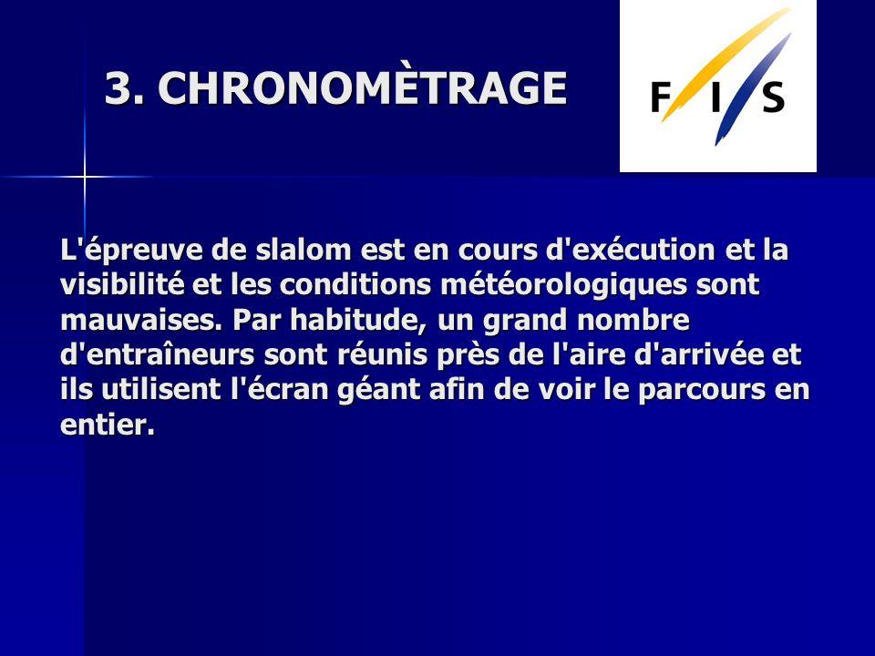 3. CHRONOMÈTRAGE L'épreuve de slalom est en cours d'exécution et la visibilité et les conditions météorologiques sont mauvaises. Par habitude, un gran