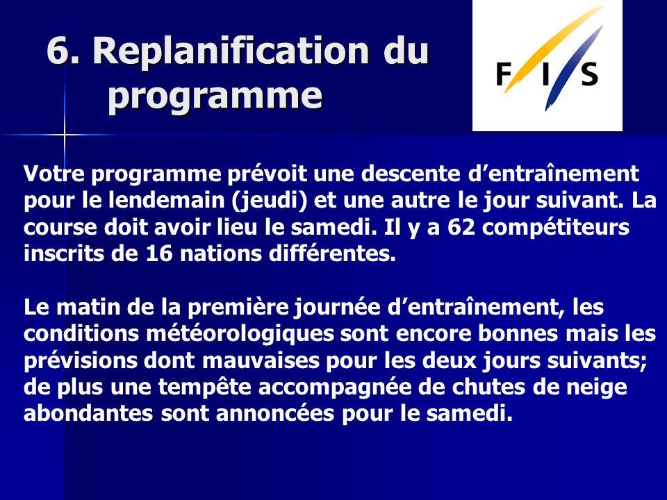6. Replanification du programme Votre programme prévoit une descente dentraînement pour le lendemain (jeudi) et une autre le jour suivant. La course d