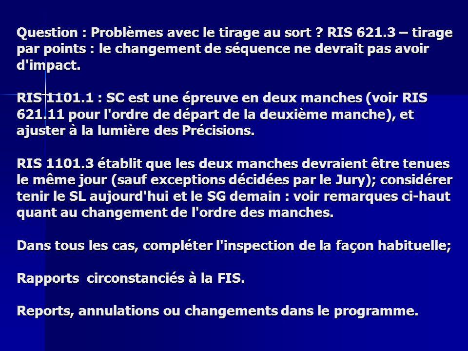 5.Attitude Vous êtes DT a une courses FIS régionales à la fin de la saison d hiver.