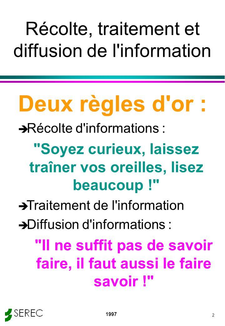 1997 2 Récolte, traitement et diffusion de l'information Deux règles d'or : è Récolte d'informations :