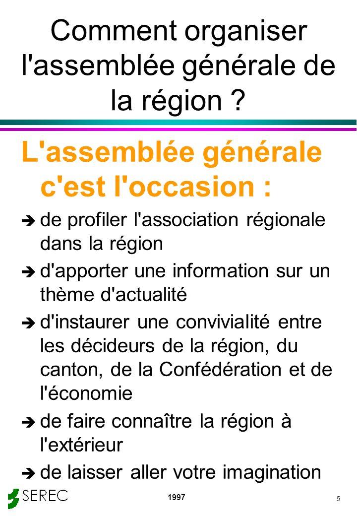 1997 5 Comment organiser l'assemblée générale de la région ? L'assemblée générale c'est l'occasion : è de profiler l'association régionale dans la rég