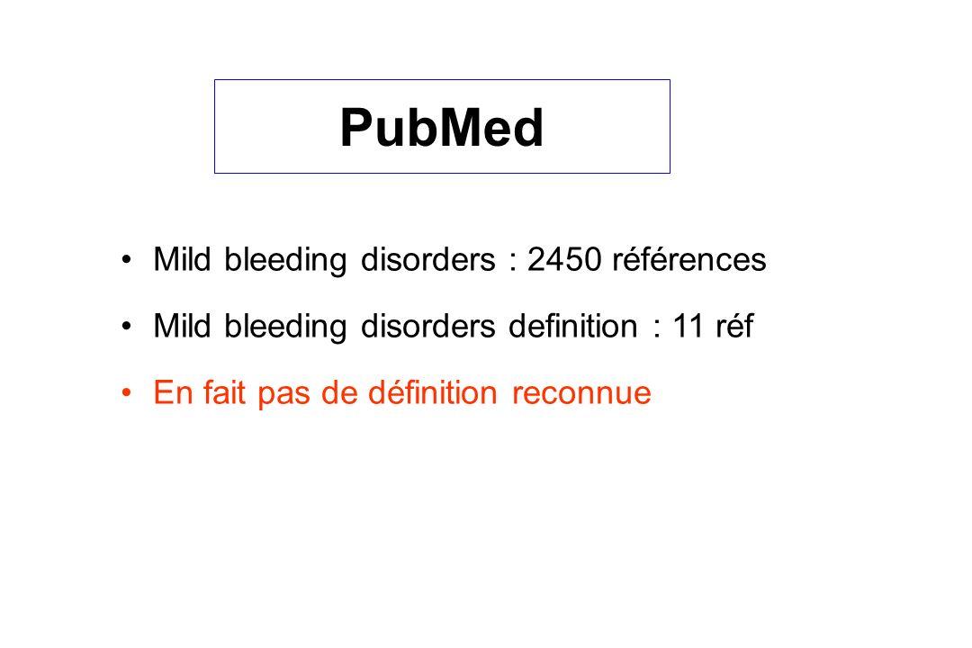 PubMed Mild bleeding disorders : 2450 références Mild bleeding disorders definition : 11 réf En fait pas de définition reconnue